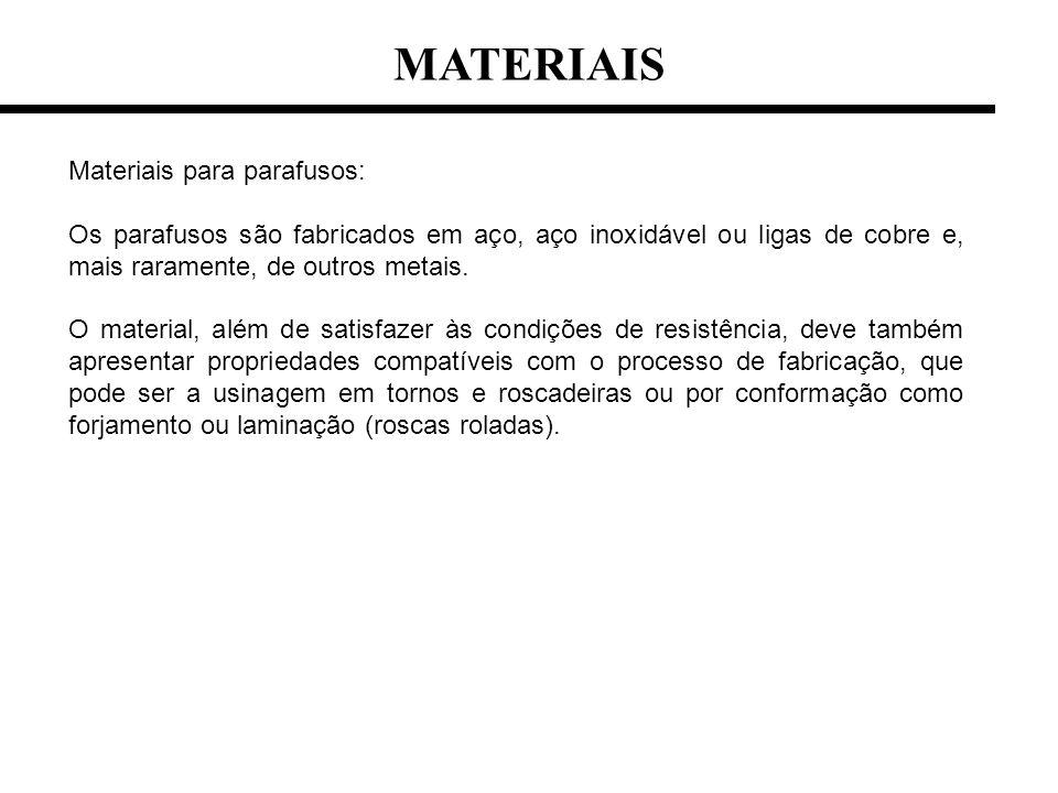 MATERIAIS Materiais para parafusos: