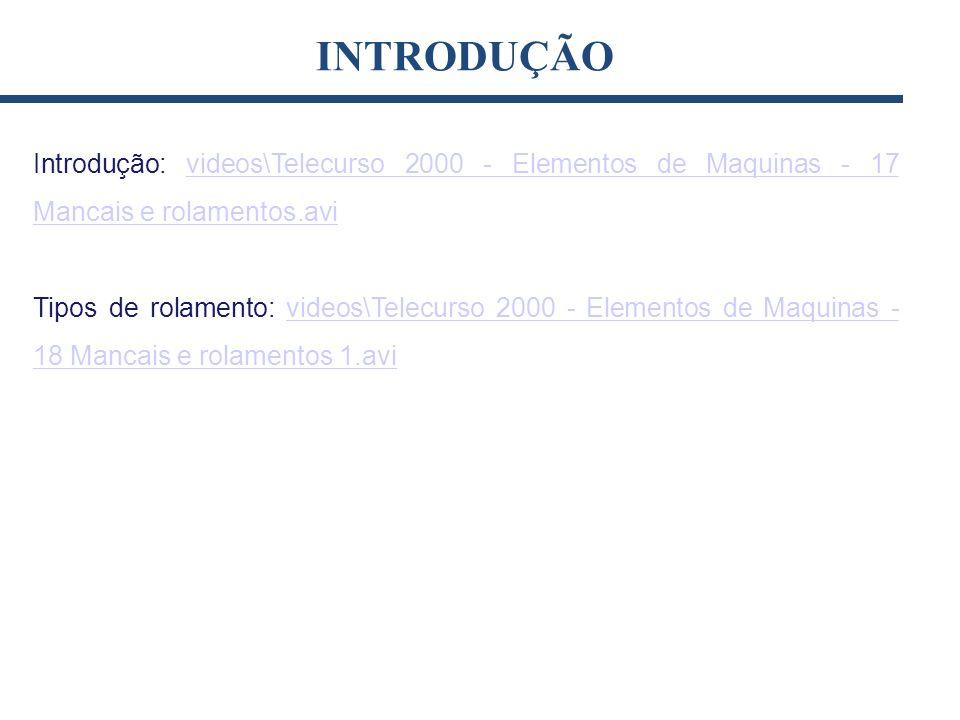 INTRODUÇÃO Introdução: videos\Telecurso 2000 - Elementos de Maquinas - 17 Mancais e rolamentos.avi.