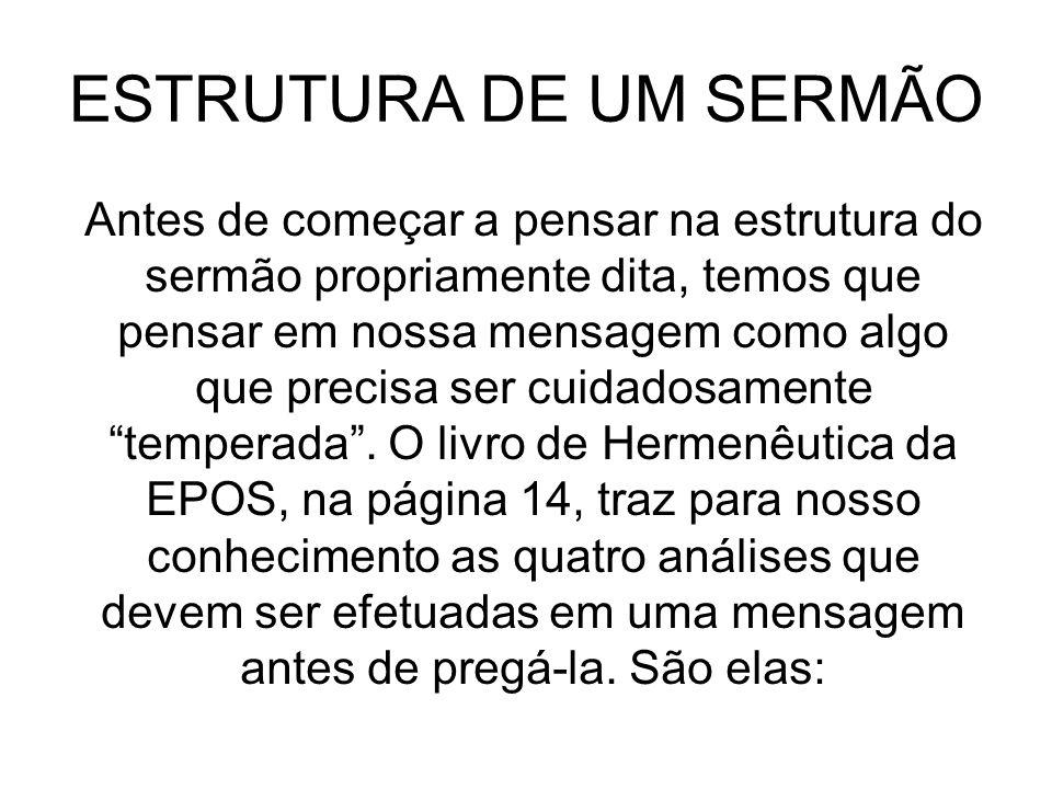 ESTRUTURA DE UM SERMÃO