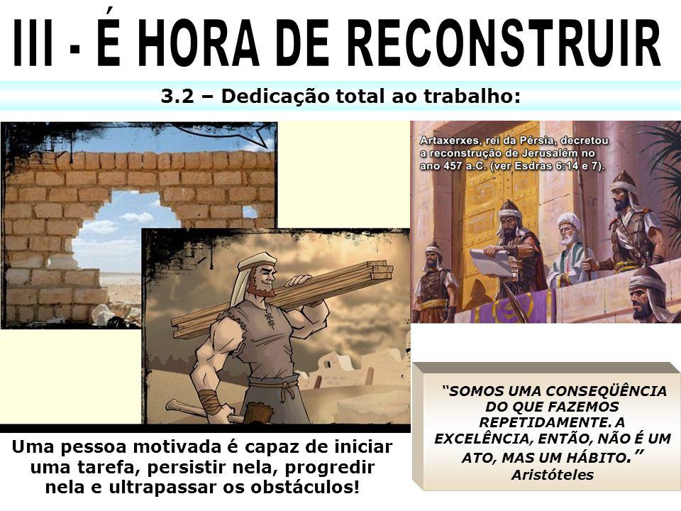 III - É HORA DE RECONSTRUIR 3.2 – Dedicação total ao trabalho: