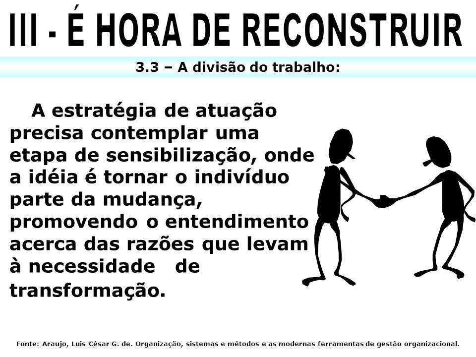 III - É HORA DE RECONSTRUIR 3.3 – A divisão do trabalho:
