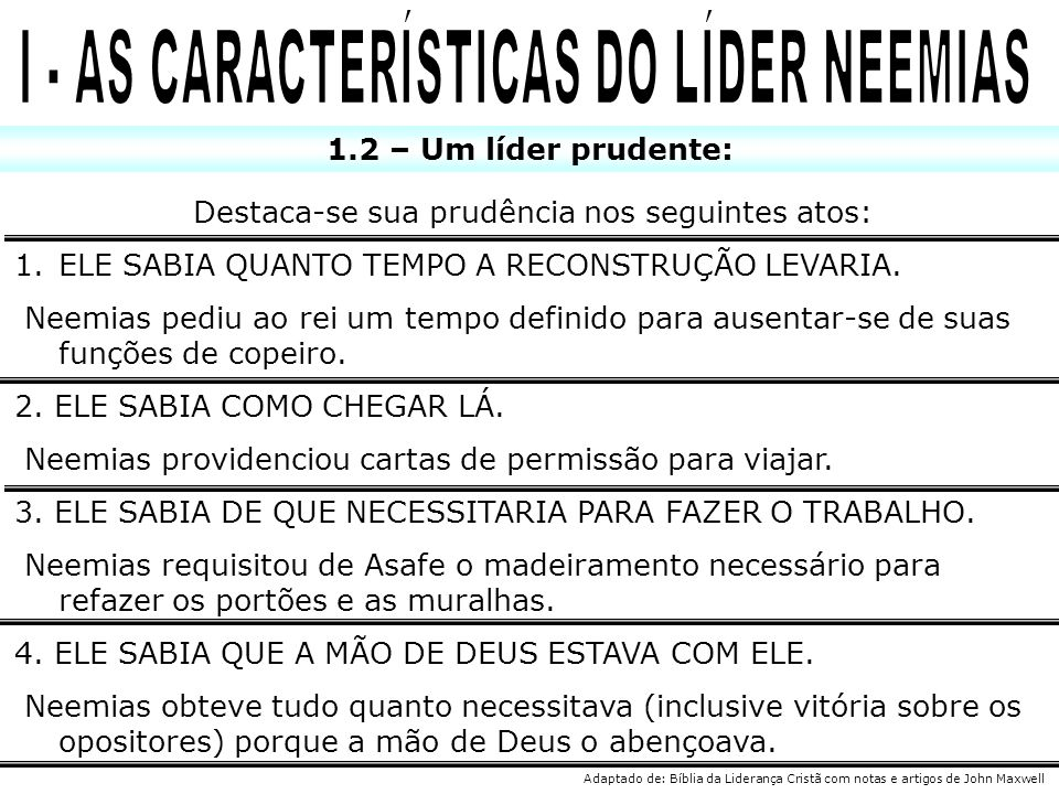 I - AS CARACTERÍSTICAS DO LÍDER NEEMIAS