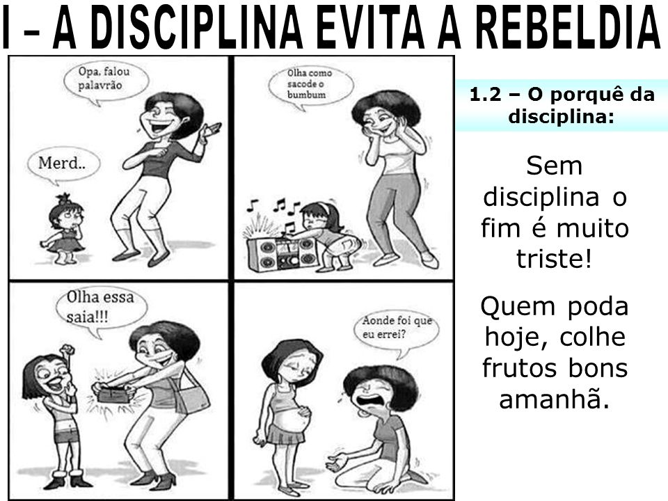 I – A DISCIPLINA EVITA A REBELDIA 1.2 – O porquê da disciplina: