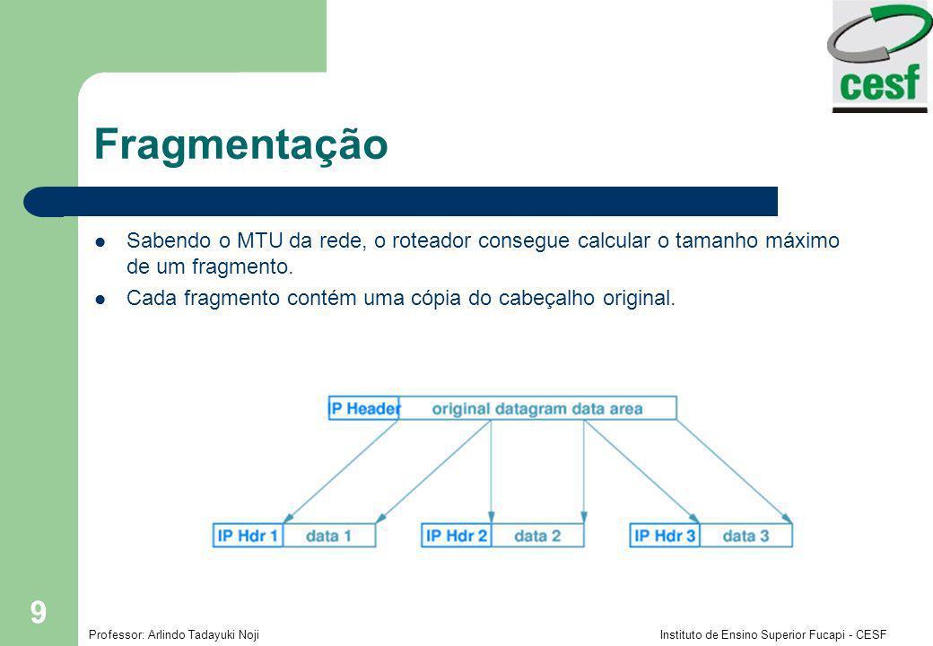 Fragmentação Sabendo o MTU da rede, o roteador consegue calcular o tamanho máximo de um fragmento.