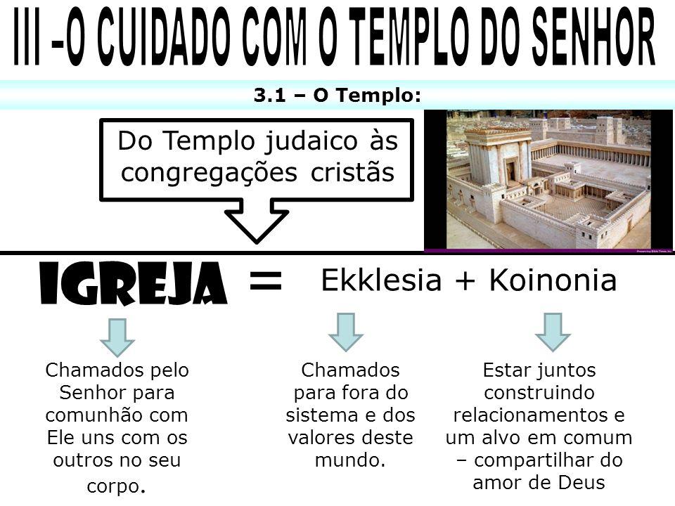III –O CUIDADO COM O TEMPLO DO SENHOR