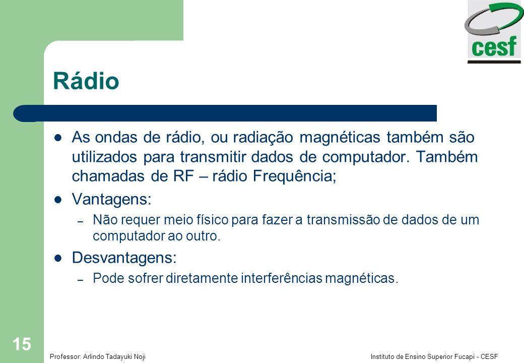 Rádio As ondas de rádio, ou radiação magnéticas também são utilizados para transmitir dados de computador. Também chamadas de RF – rádio Frequência;