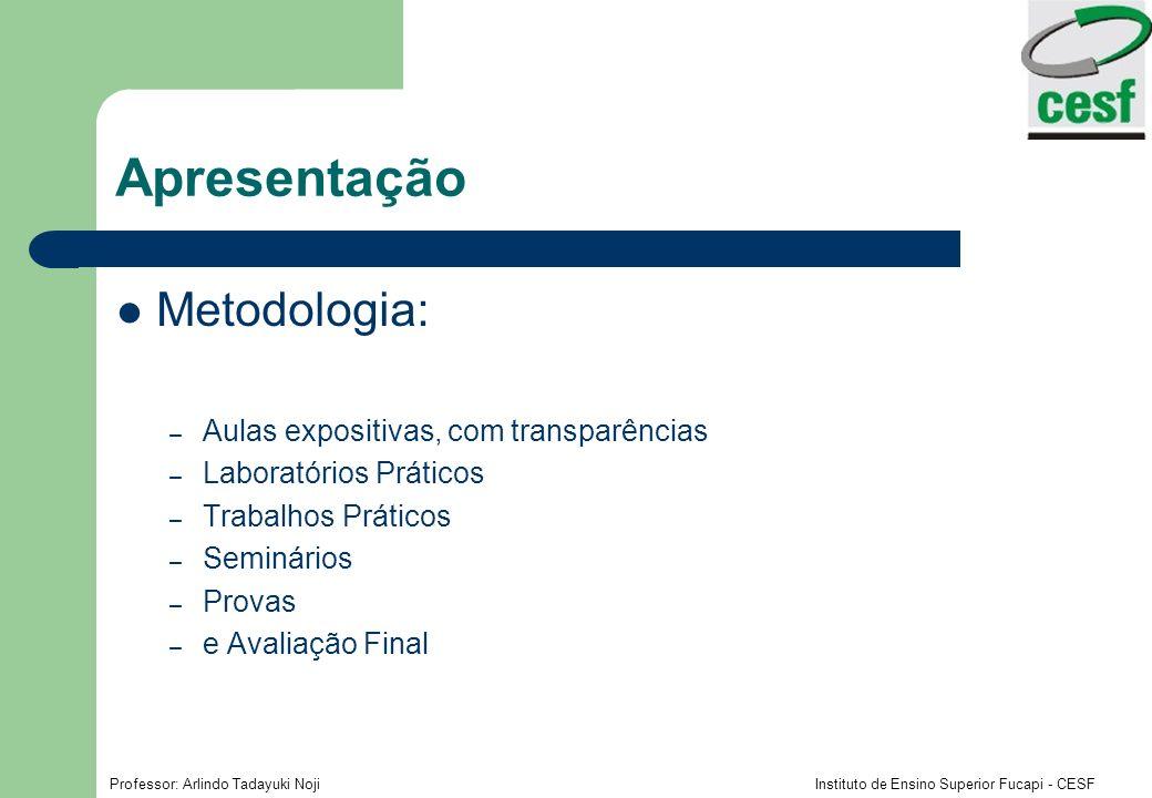 Apresentação Metodologia: Aulas expositivas, com transparências
