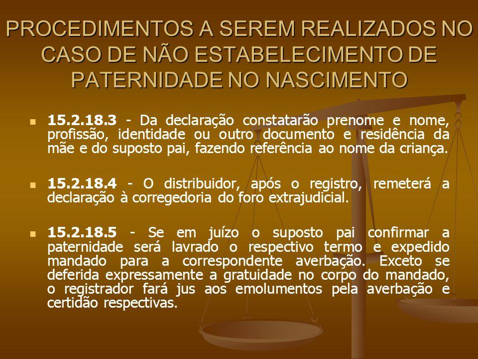 PROCEDIMENTOS A SEREM REALIZADOS NO CASO DE NÃO ESTABELECIMENTO DE PATERNIDADE NO NASCIMENTO