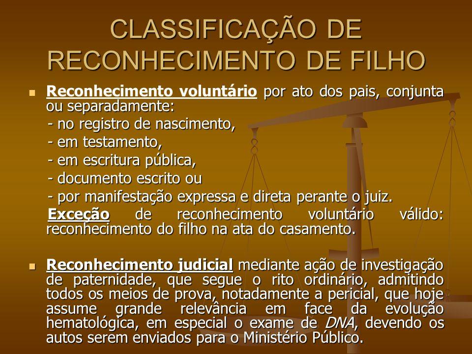CLASSIFICAÇÃO DE RECONHECIMENTO DE FILHO