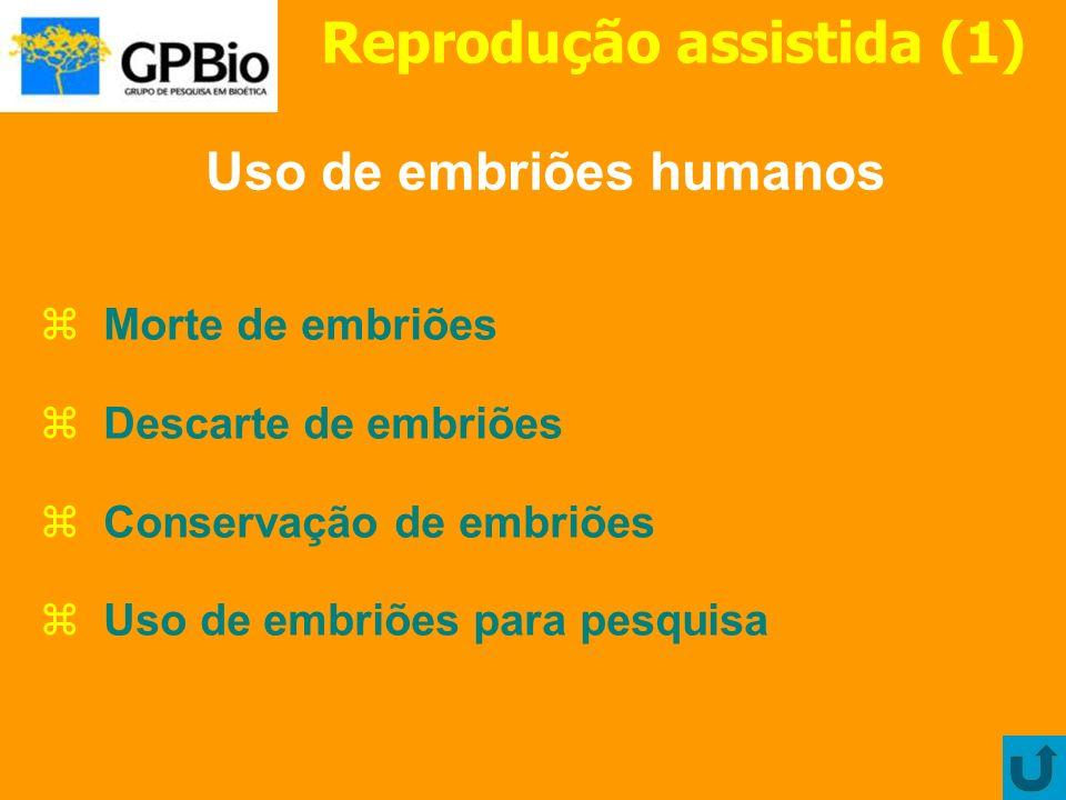 Reprodução assistida (1) Uso de embriões humanos