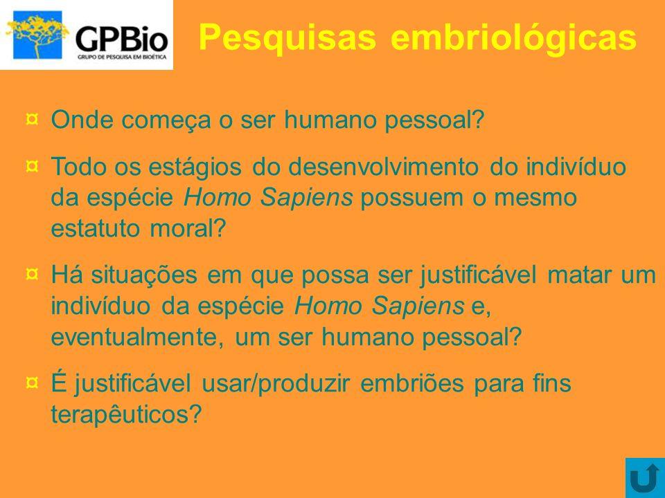 Pesquisas embriológicas