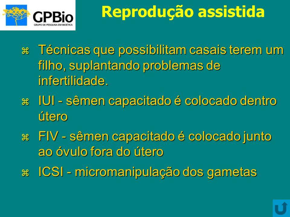 Reprodução assistida Técnicas que possibilitam casais terem um filho, suplantando problemas de infertilidade.