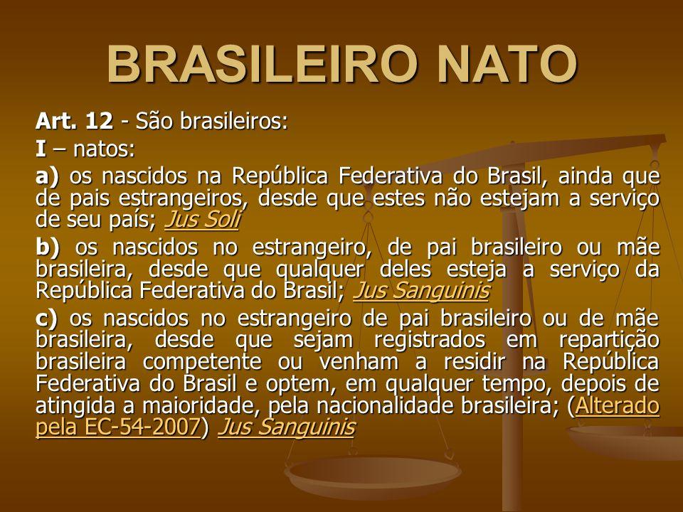 BRASILEIRO NATO Art. 12 - São brasileiros: I – natos: