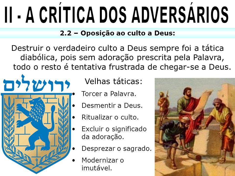 II - A CRÍTICA DOS ADVERSÁRIOS 2.2 – Oposição ao culto a Deus: