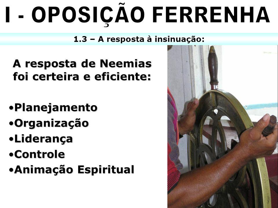I - OPOSIÇÃO FERRENHA A resposta de Neemias foi certeira e eficiente: