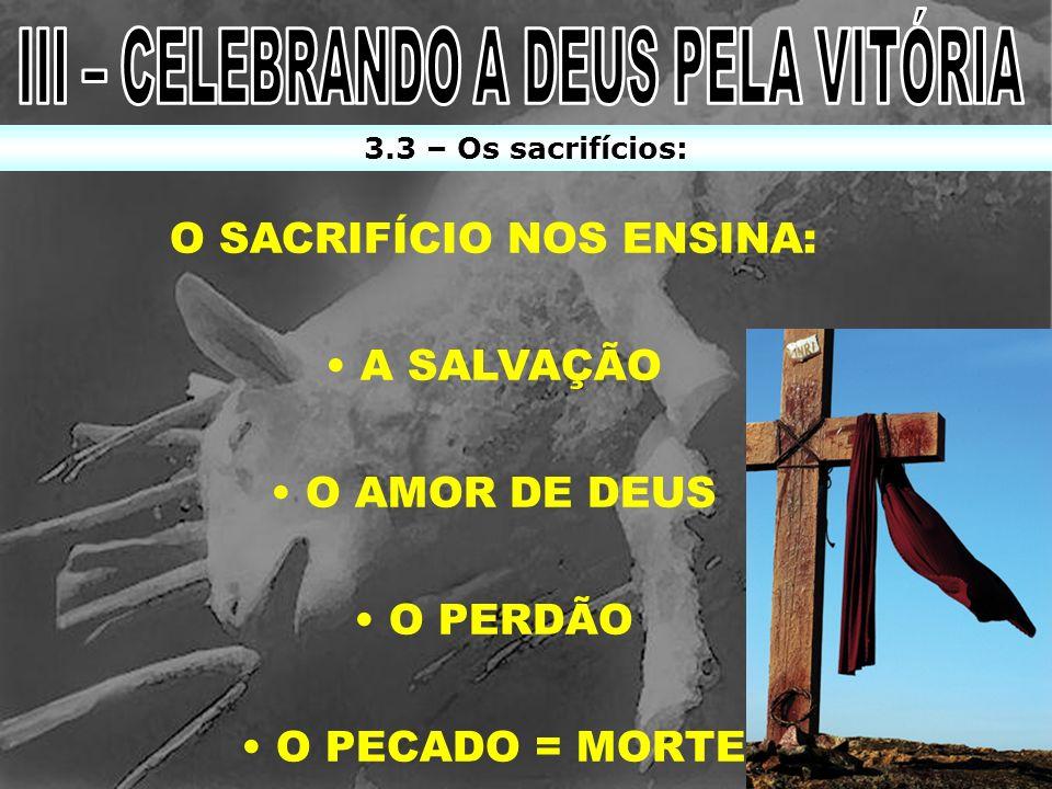 III – CELEBRANDO A DEUS PELA VITÓRIA O SACRIFÍCIO NOS ENSINA: