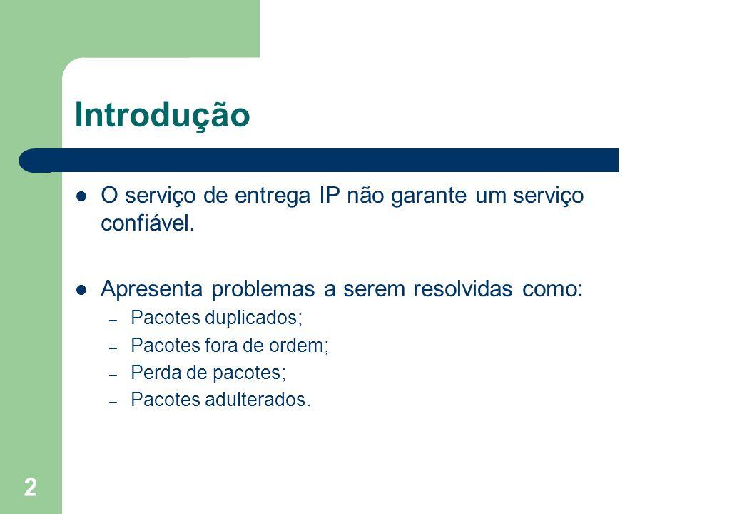 Introdução O serviço de entrega IP não garante um serviço confiável.