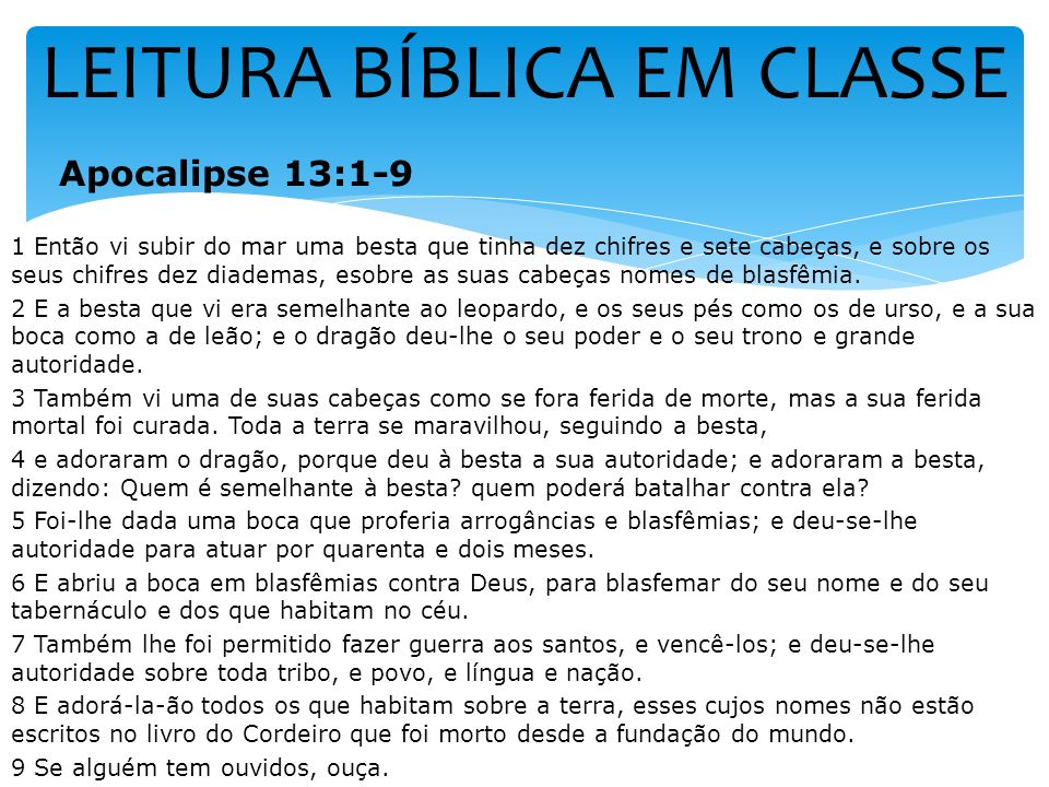 LEITURA BÍBLICA EM CLASSE