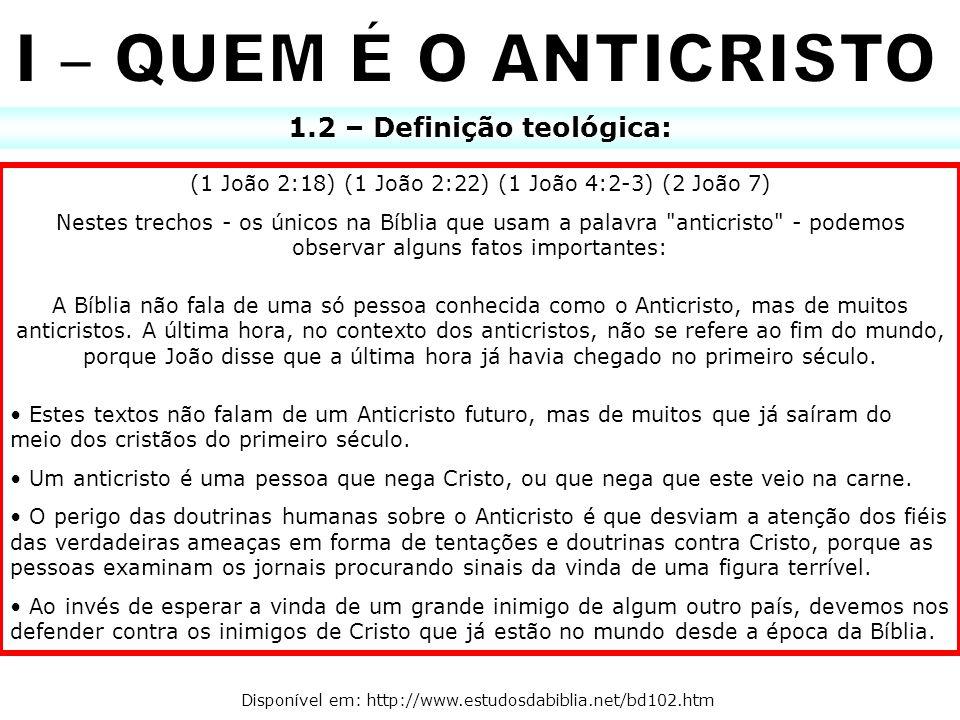 1.2 – Definição teológica: