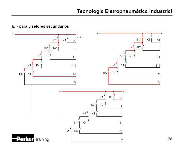 E - para 6 setores secundários