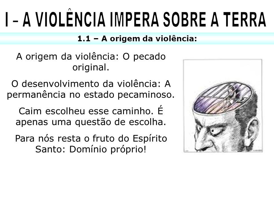 I – A VIOLÊNCIA IMPERA SOBRE A TERRA 1.1 – A origem da violência: