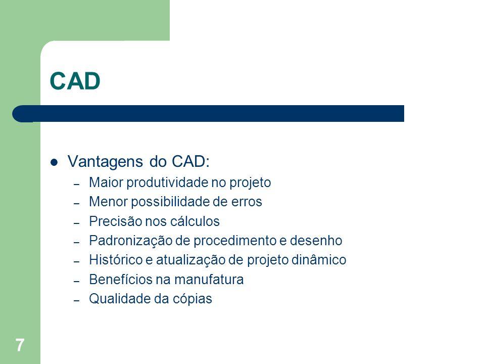 CAD Vantagens do CAD: Maior produtividade no projeto