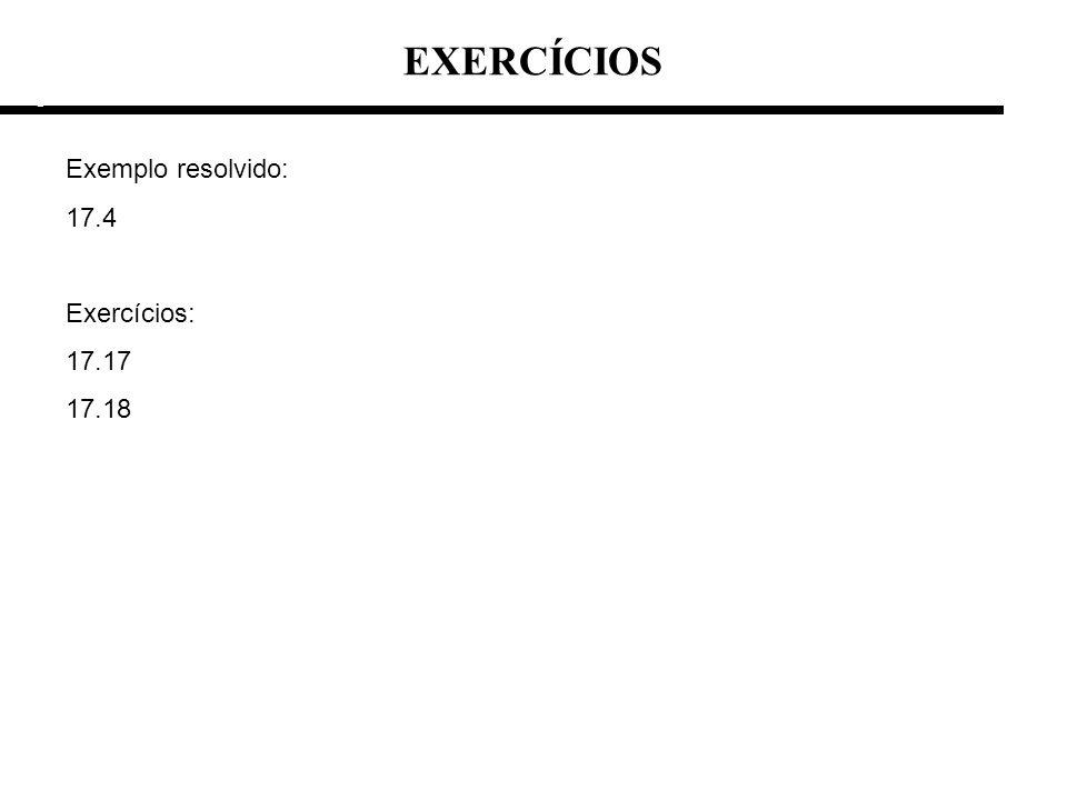 EXERCÍCIOS e e Exemplo resolvido: 17.4 Exercícios: 17.17 17.18