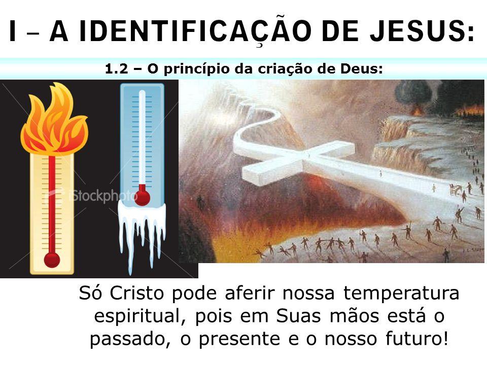 I – A IDENTIFICAÇÃO DE JESUS: 1.2 – O princípio da criação de Deus: