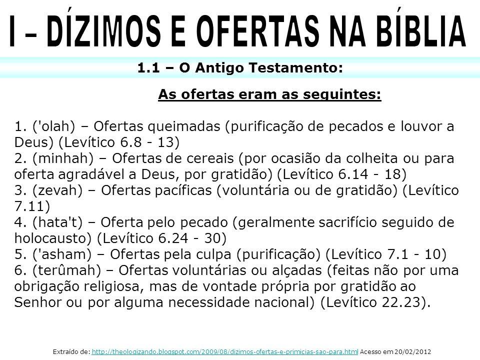 I – DÍZIMOS E OFERTAS NA BÍBLIA