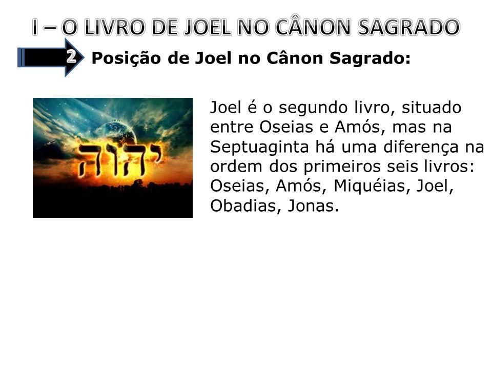 I – O LIVRO DE JOEL NO CÂNON SAGRADO