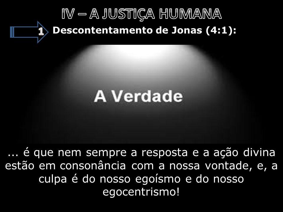 IV – A JUSTIÇA HUMANA 1. Descontentamento de Jonas (4:1):
