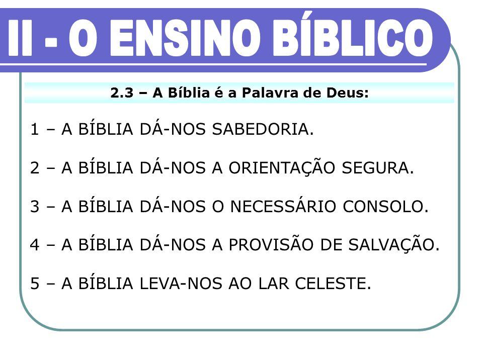 2.3 – A Bíblia é a Palavra de Deus: