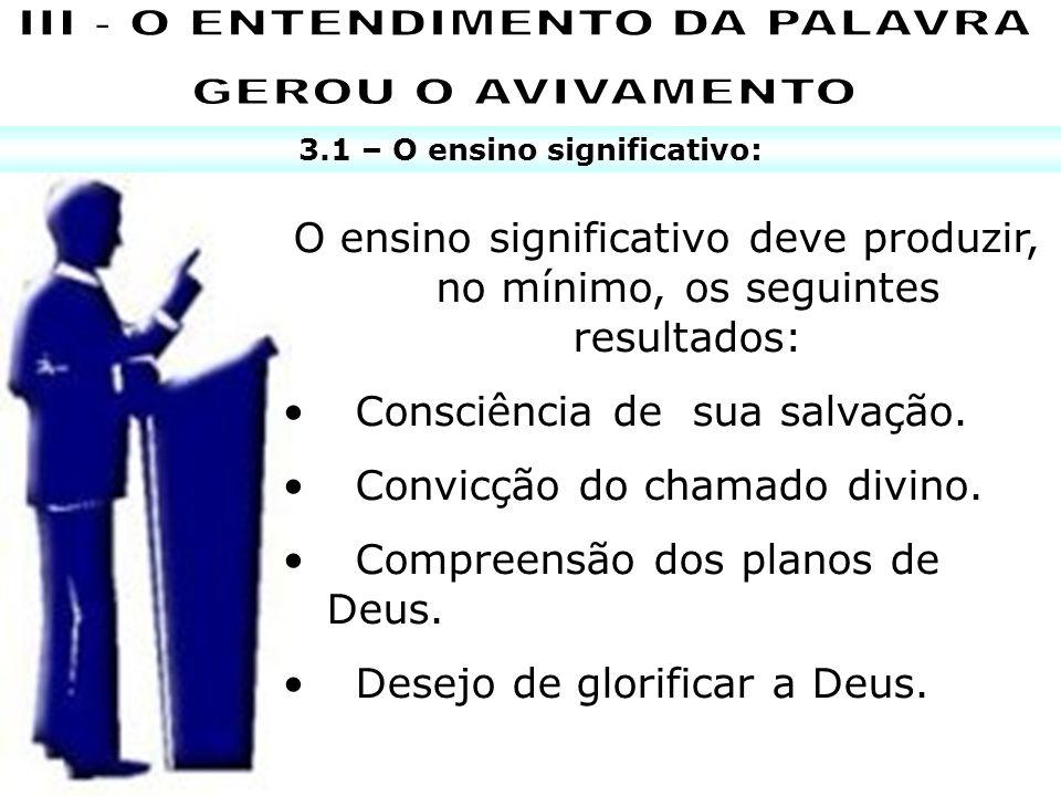 III - O ENTENDIMENTO DA PALAVRA 3.1 – O ensino significativo: