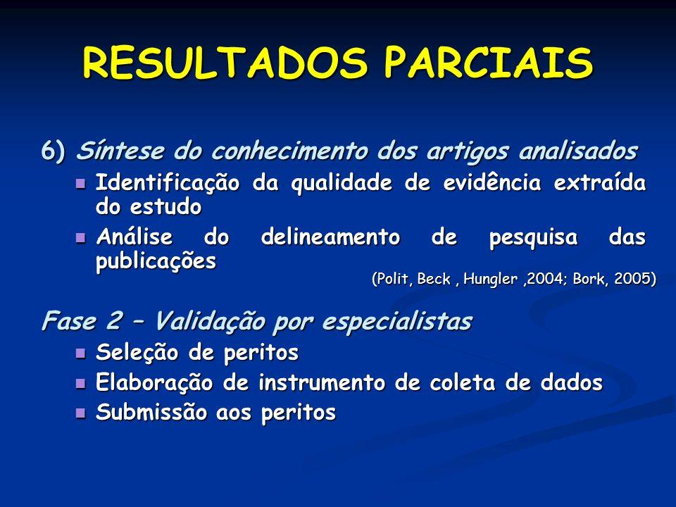 RESULTADOS PARCIAIS 6) Síntese do conhecimento dos artigos analisados