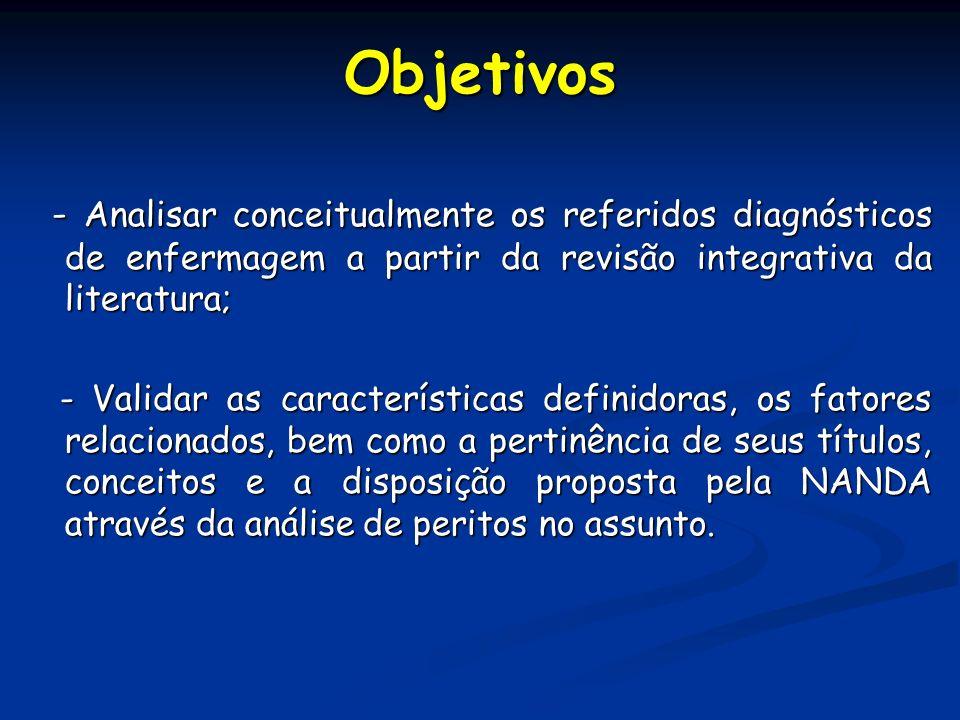 Objetivos - Analisar conceitualmente os referidos diagnósticos de enfermagem a partir da revisão integrativa da literatura;