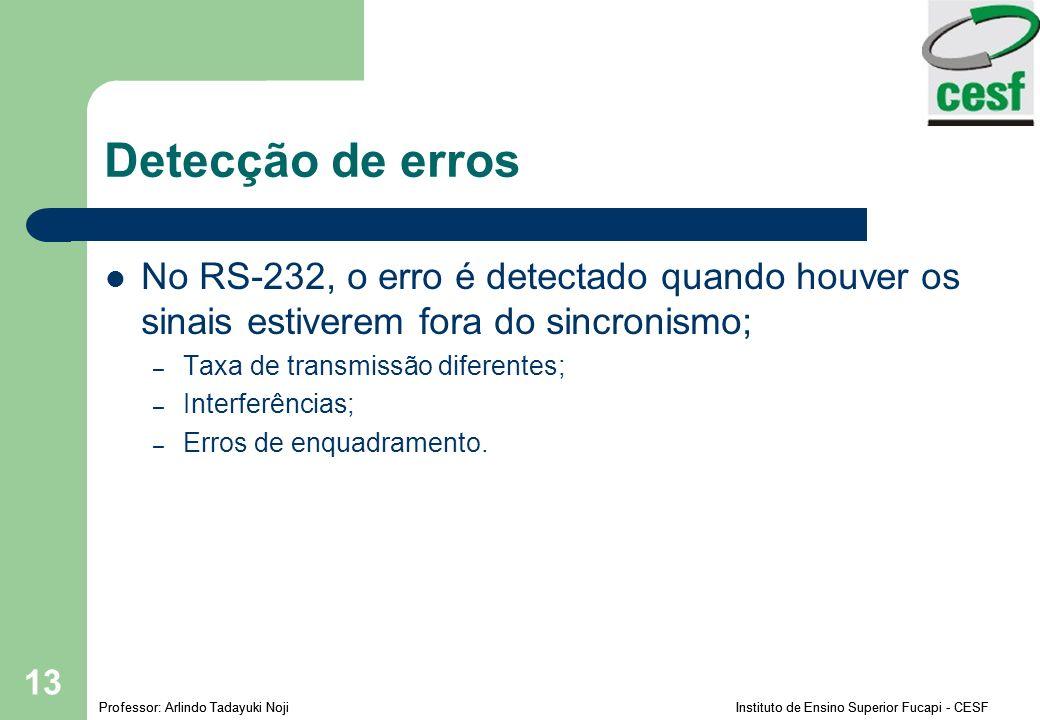 Detecção de erros No RS-232, o erro é detectado quando houver os sinais estiverem fora do sincronismo;