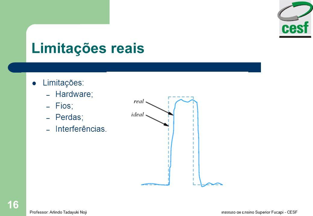Limitações reais Limitações: Hardware; Fios; Perdas; Interferências.