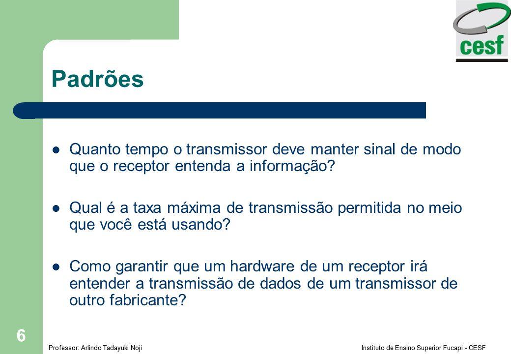 Padrões Quanto tempo o transmissor deve manter sinal de modo que o receptor entenda a informação