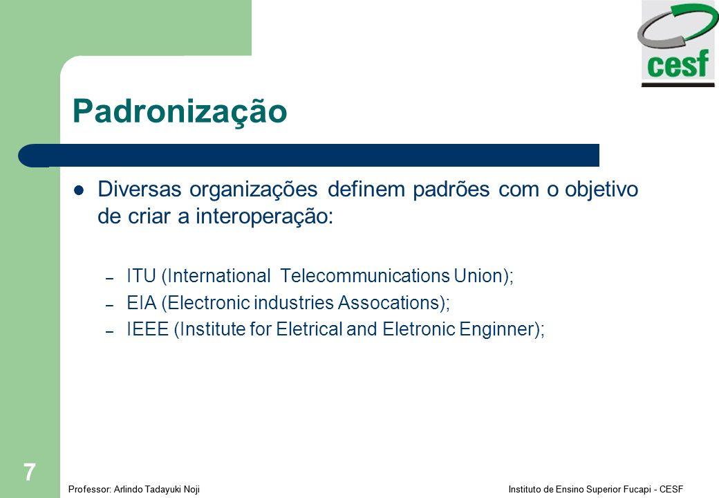 Padronização Diversas organizações definem padrões com o objetivo de criar a interoperação: ITU (International Telecommunications Union);