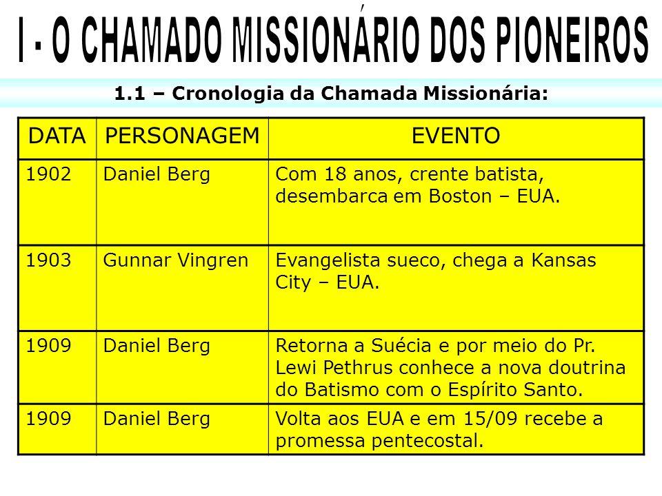 I - O CHAMADO MISSIONÁRIO DOS PIONEIROS