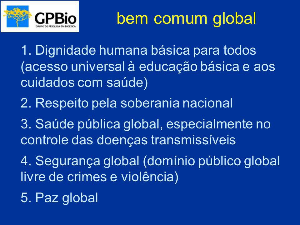 bem comum global 1. Dignidade humana básica para todos (acesso universal à educação básica e aos cuidados com saúde)