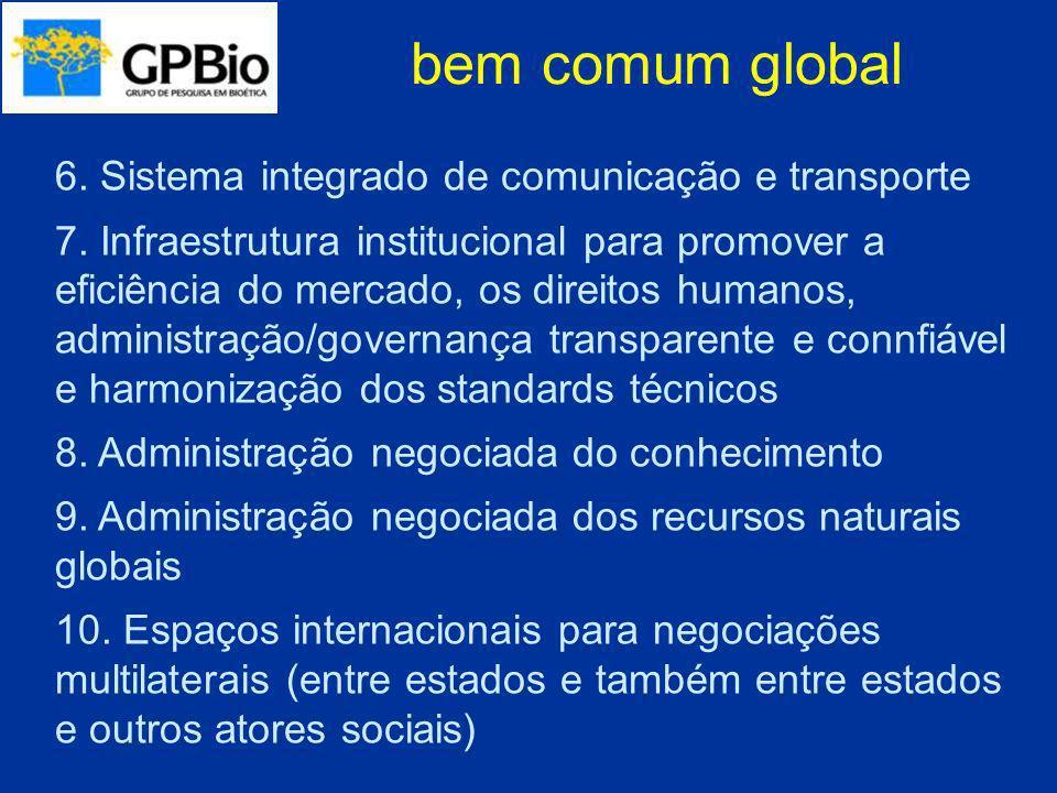 bem comum global 6. Sistema integrado de comunicação e transporte