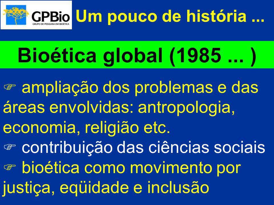 Bioética global (1985 ... ) Um pouco de história ...