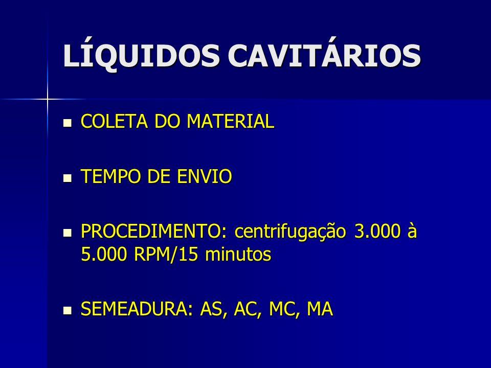 LÍQUIDOS CAVITÁRIOS COLETA DO MATERIAL TEMPO DE ENVIO