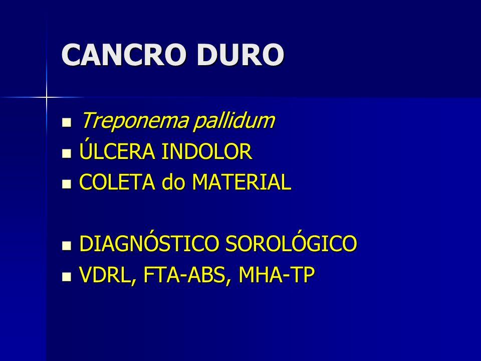 CANCRO DURO Treponema pallidum ÚLCERA INDOLOR COLETA do MATERIAL