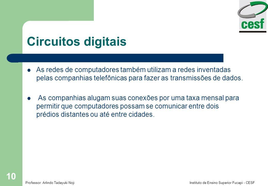 Circuitos digitais As redes de computadores também utilizam a redes inventadas pelas companhias telefônicas para fazer as transmissões de dados.