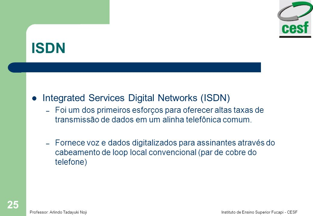 ISDN Integrated Services Digital Networks (ISDN)