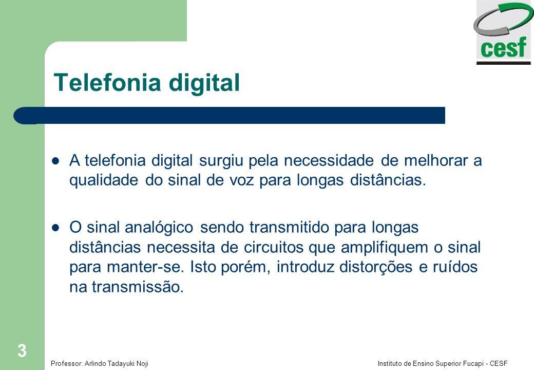 Telefonia digital A telefonia digital surgiu pela necessidade de melhorar a qualidade do sinal de voz para longas distâncias.