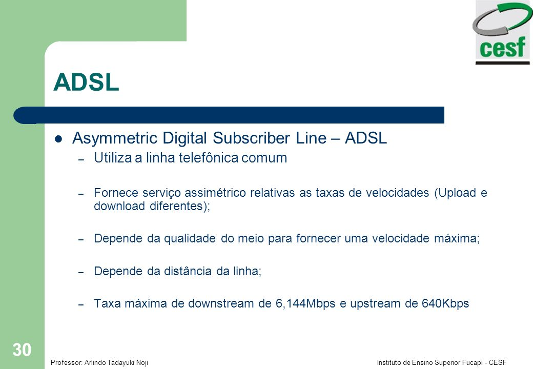 ADSL Asymmetric Digital Subscriber Line – ADSL