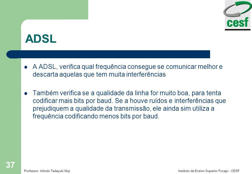 ADSL A ADSL, verifica qual frequência consegue se comunicar melhor e descarta aquelas que tem muita interferências.